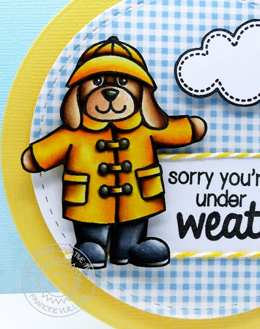 Sunny Studio: Rain or Shine Puppy Dog Get Well Card by Francine Vuillème.