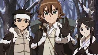 Tatsumi wraz z przyjaciółmi z rodzimej wioski