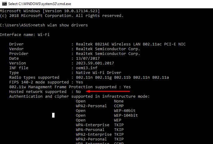 biasanya cara meunculkan hosted network supported ini dengan cara membuka command prompt (CMD), lalu ketikkan netsh wlan show drivers. nanti akan terlihat semua informasi drivers wifi anda, tidak semua laptop hosted network nya aktif (Yes)