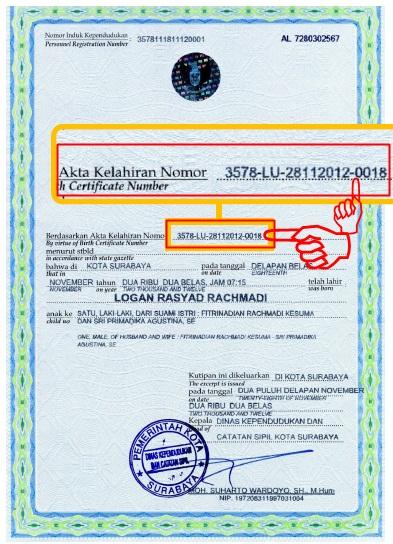 Letak Nomor Registrasi pada Akta Kelahiran Model Baru