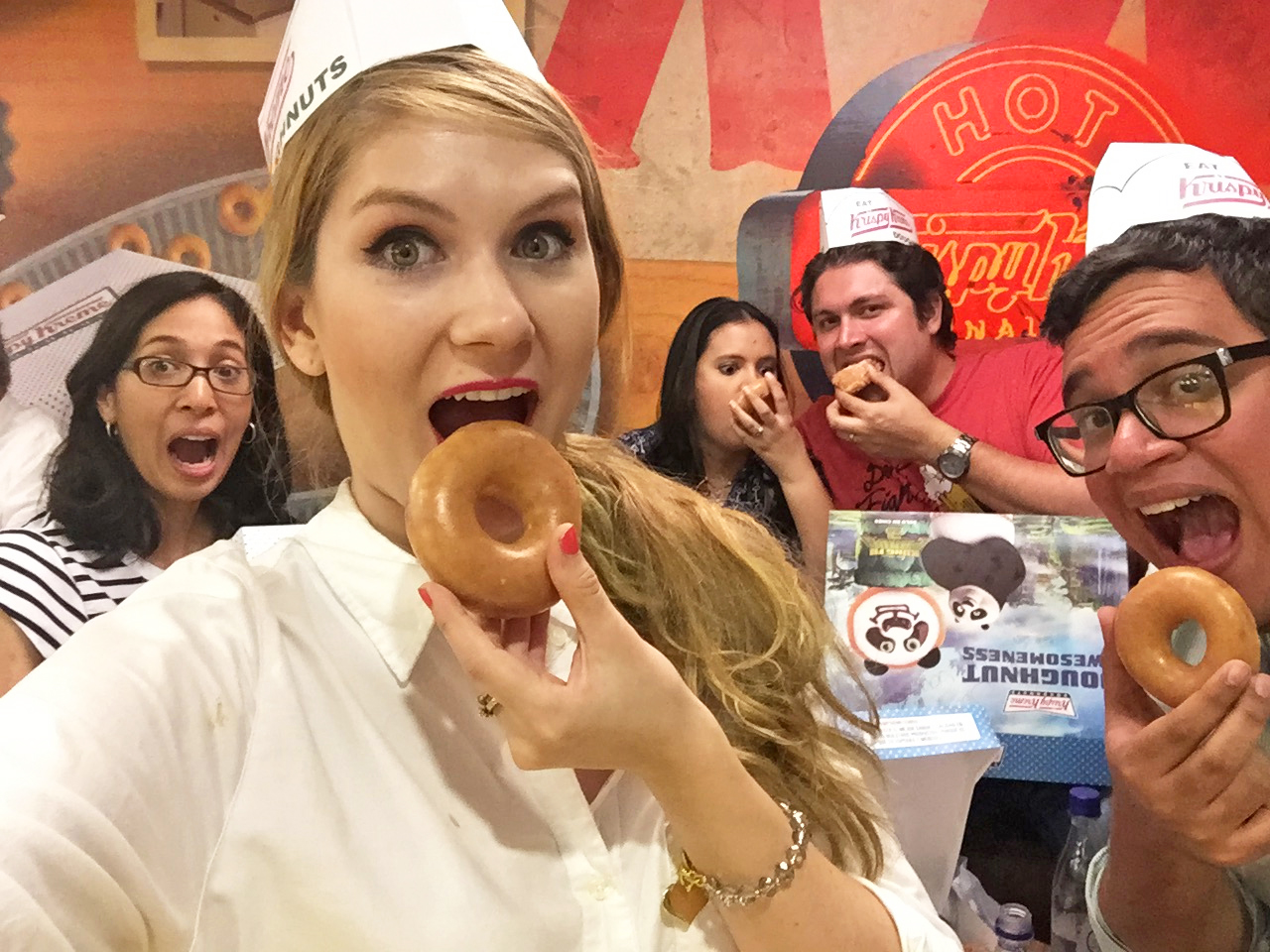 Delicious glazed donuts at the Krispy Kream in Medellin, Colombia