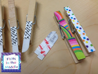 Attach half of a Command strip to a clothespin to create No Name and Absent Work areas.
