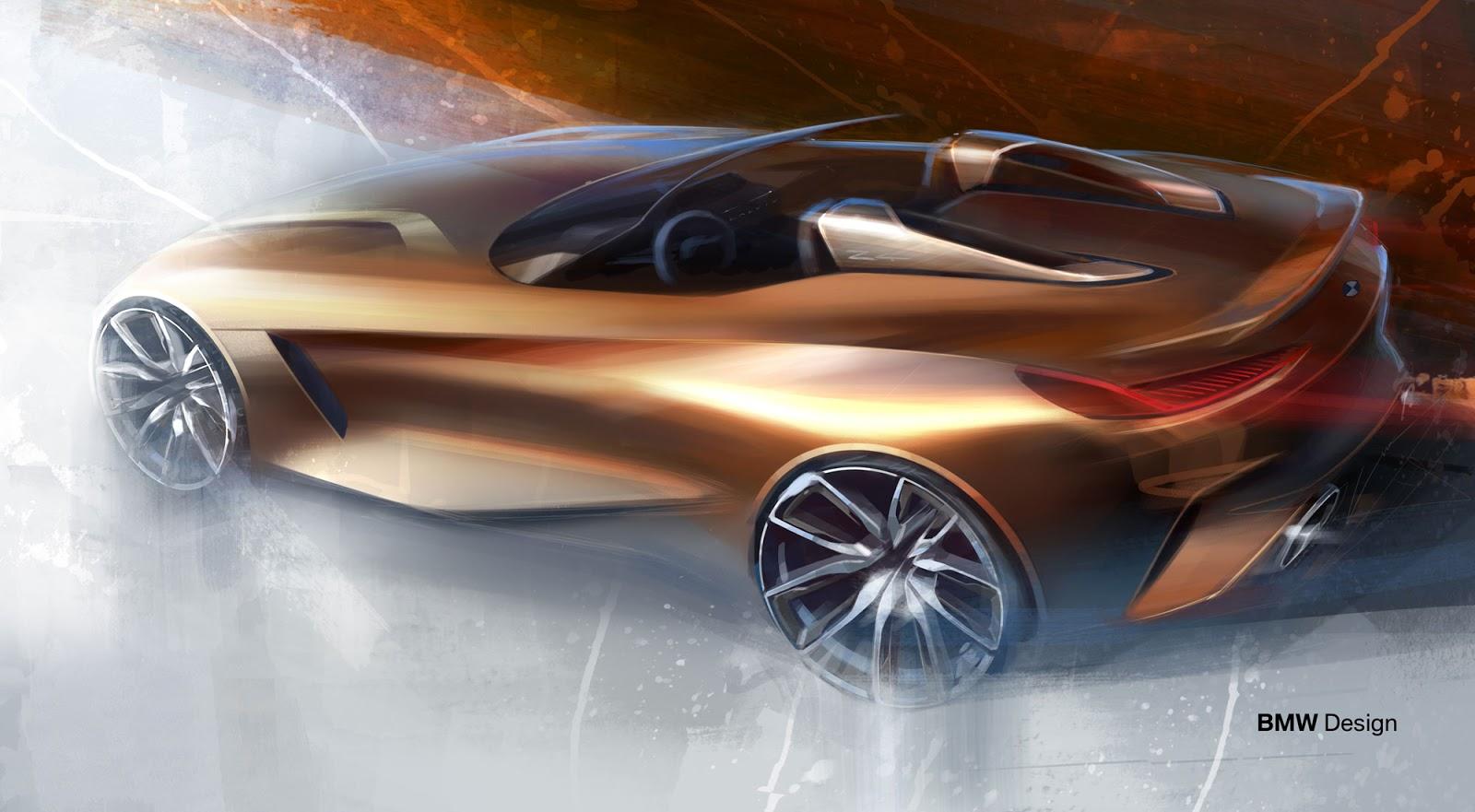 BMW Z4 sketch by Calvin Luk rear quarter view