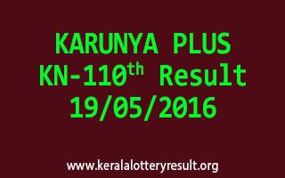 KARUNYA PLUS KN 110 Lottery Result 19-5-2016