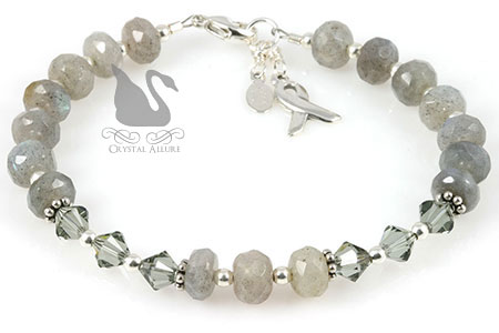 Labradorite Gemstone Crystal Asthma Awareness Bracelet (BA212)