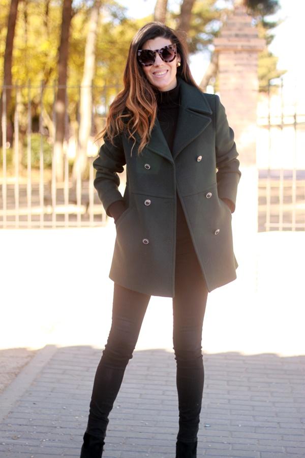 Abrigo verde, chaqueta doble boton, Naf Naf