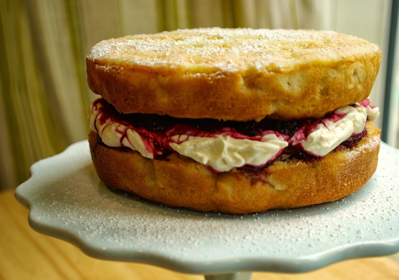 Apple Cake Recipe Uk Bbc: Bramley Apple Victoria Sandwich With Blackberry Cream