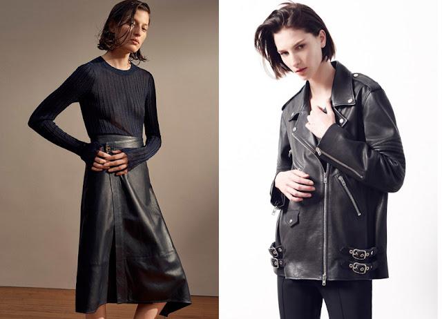 Юбка и куртка из черной кожи