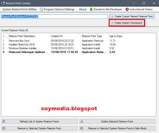 Membuat Restore Point Menggunakan Sofware Restore Point Creator