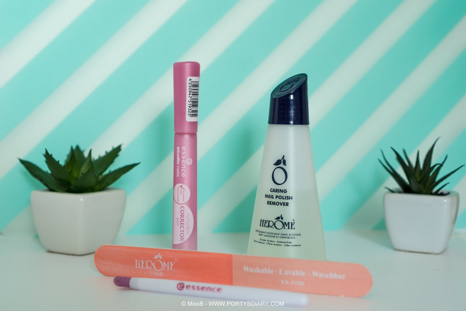 Current nail care routine favorites. Herôme 4-way perfect nail file and Caring nail polish remover. Essence Cuticle pusher and nail polish corrector pen.