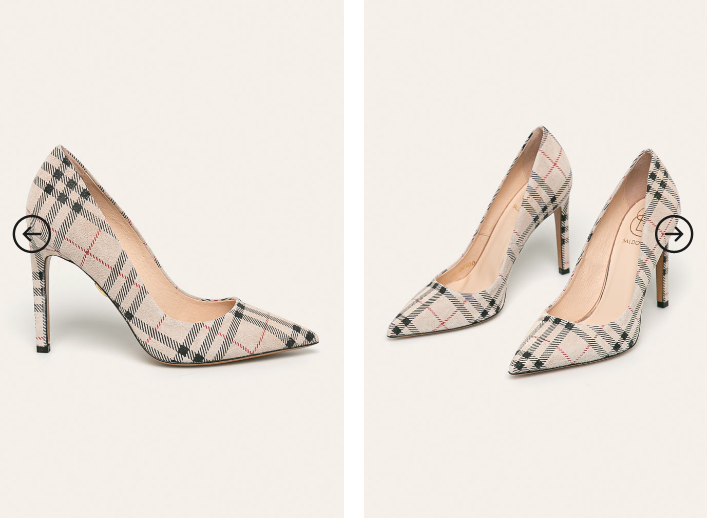 Pantofi office de dama cu toc inalt eleganti in carouri piel naturala intoarsa