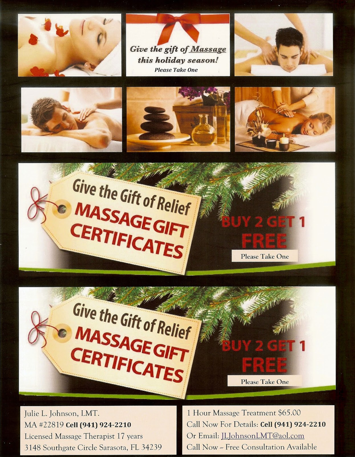 Sarasota Massage Therapy: Holiday Gift Certificate Special