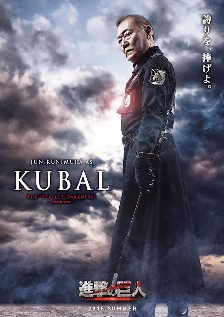 Plakat z filmu Attack on Titan na którym jest Jun Kunimura jako Kubal