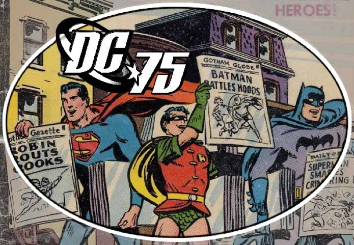 classic art of Superman, Robin, and Batman hawking newspapers on a city street, each holding up a front page touting the heroic exploits of one of the others ('Robin Routs Crooks', 'Batman Battles Hoods', 'Superman Smashes Crime Ring'), all highlighted in a crisp round detail with stylized DC 75 logo, more of the art from the original cover visible outside the ring but faded