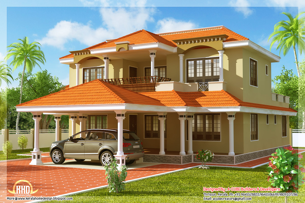 Indian Home Design: Indian 4 Bedroom Sloping Roof Home