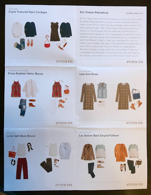 Stitch Fix #29 Review - January 2017 - Style Card