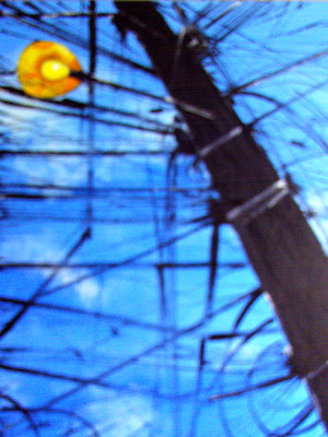 Poste com lâmpada, acrílico s/ tela - de Clameli
