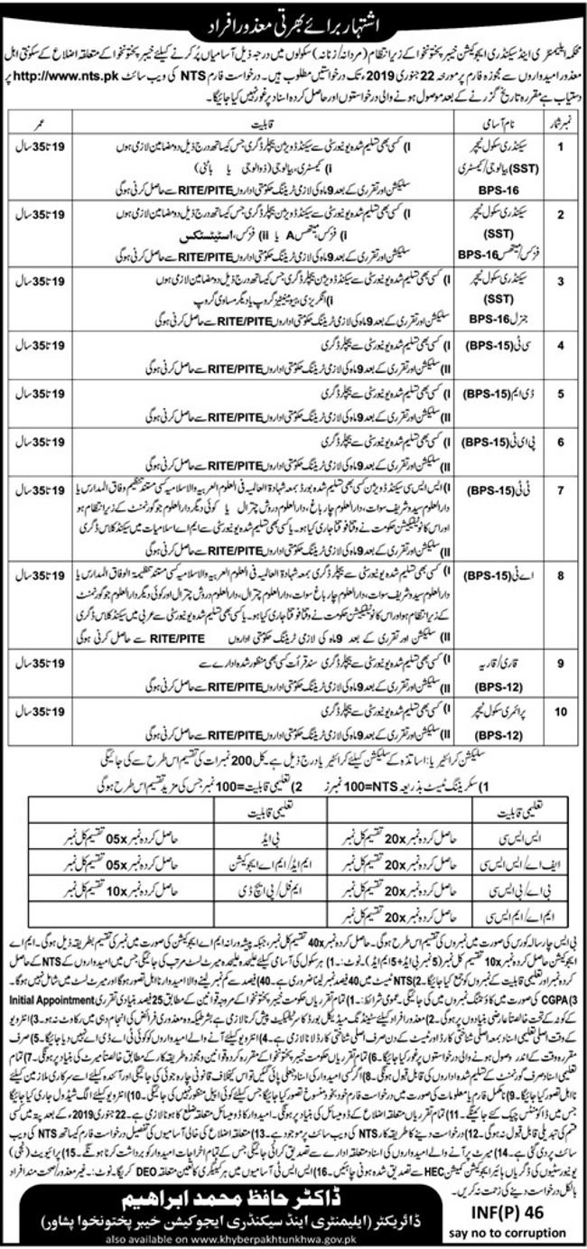 jobs in pakistan,education,elementary and secondary education,elementary and secondary education act,elementary and secondary education kpk nts,job in elementary & secondary education department,secondary education,kpk elementary and secondary education jobs advertisement,elementary and secondary education kpk contact number,elementary & secondary education