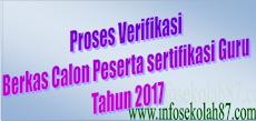 Proses Verifikasi Berkas Calon Peserta sertifikasi Guru Tahun 2017