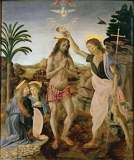 ヴェロッキオ、キリストの洗礼、ウフィツィ美術館