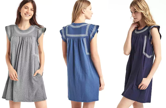 Gap Embroidered Slub Jersey Dress $24-$26 (reg $60)