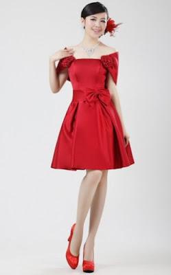 Contoh Gaun Pesta Pendek Merah cantik Elegan