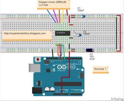 Fig. 5 - Modulo con ULN2003A, stepper 28BYJ-48 e Arduino  di Paolo Luongo