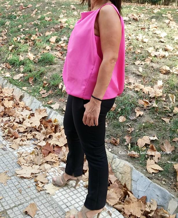 Con hilos, lanas y botones: Top ablusado rosa (modelo 112 de a revista BurdaStyle 04/2013)
