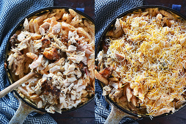 Step by step photos showing how to mix in cooked chicken and top with cheddar cheese for buffalo ranch chicken pasta