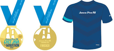 Medali Finisher T-Shirt Jawa Post Fit East Java Half Marathon 2016 Surabaya