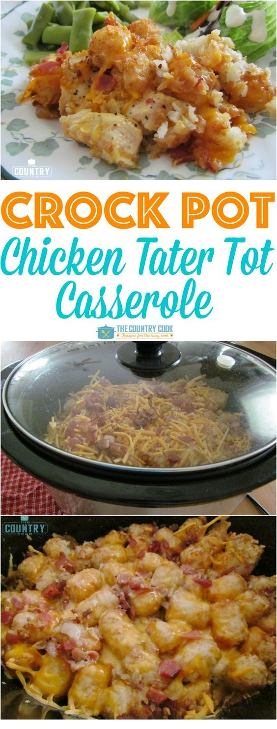 Crock Pot Cheesy Chicken Tater Tot Casserole