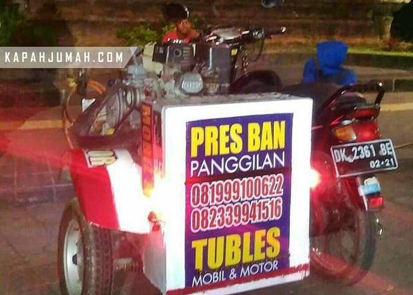 Tukang Tambal Ban Panggilan pada Malam Hari di Denpasar