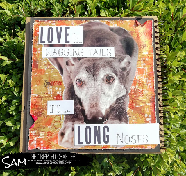 Greyhound Art Journal Page by Sam Lewis AKA The Crippled Crafter
