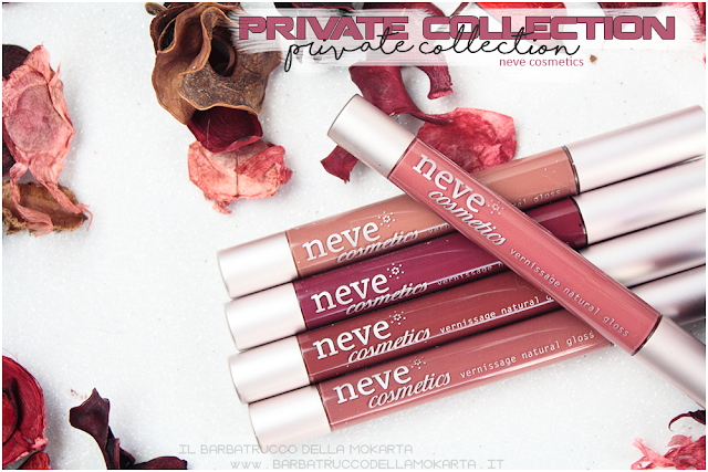 vernissage  gloss neve cosmetics , private collection review recensione