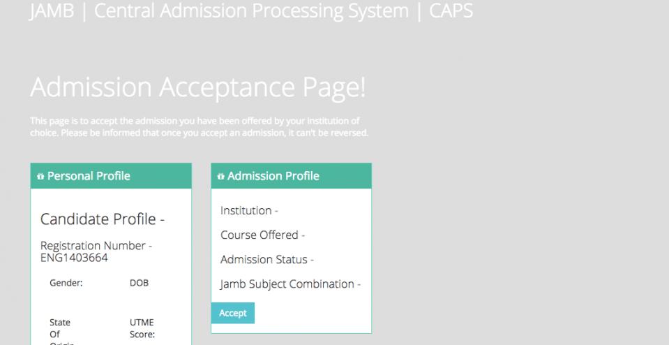 JAMB CAPS Admission Status Porta