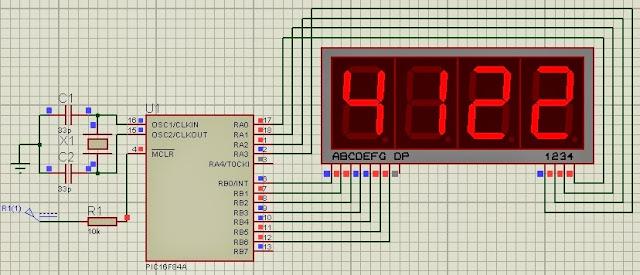 7 segment display multiplexing technique pic16f84a