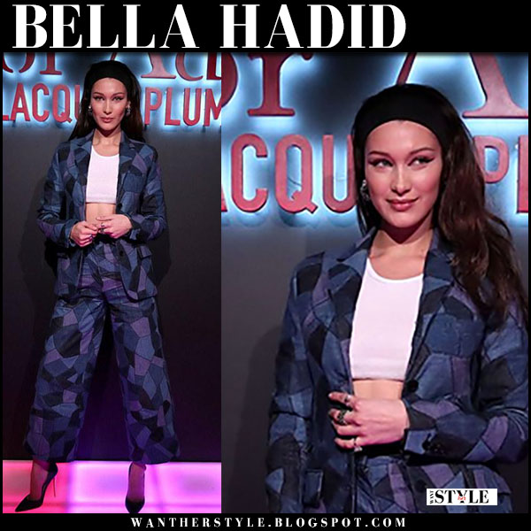 Bella Hadid in blue printed jacket and pants and blue denim pumps christian louboutin model style march 14