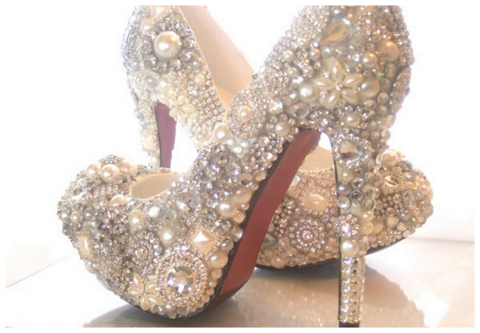 4375dc1c7d7146 Sparkly Cinderella Wedding Shoes