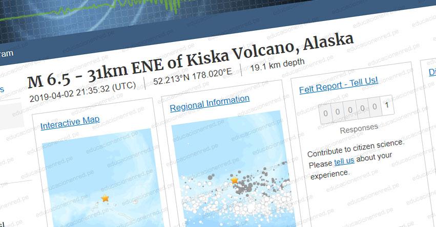Terremoto en Alaska y Rusia de Magnitud 6.5 y Alerta de Tsunami (Hoy Martes 2 Abril 2019) Sismo - Temblor - EPICENTRO - Mar de Bering - Islas Aleutianas - Estados Unidos - EE.UU. - USGS
