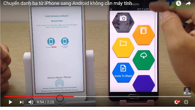 Chuyển Danh Bạ Từ iPhone Sang Android Không Cần Máy Tính