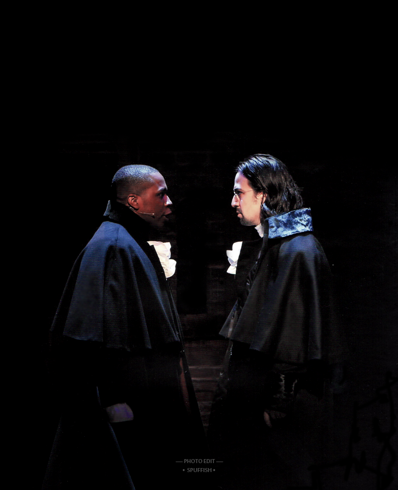 Leslie Odom Jr and Lin Manual Miranda in Hamilton