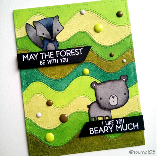 Forest Friends stamp set and Stitched Whimsical Waves Die-namics  - @soumo103 #mftstamps