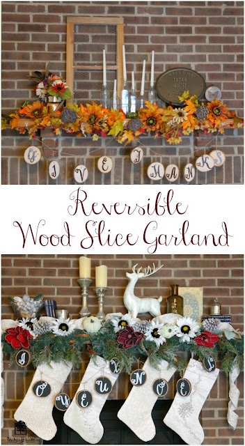 Reversible Wood Slice Garland for Thanksgiving and Christmas by Dana Tatar for Walnut Hollow