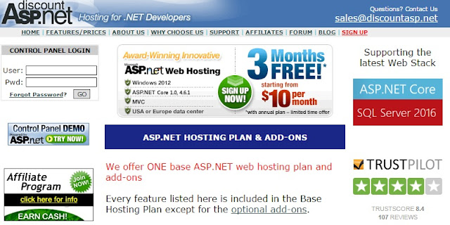 DiscountASP - ASP.NET Core 1.0 Hosting Plan