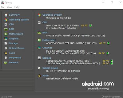 Melihat spesifikasi laptop komputer pc lebih detail dan lengkap ,lewat software Speccy di windows 7 10