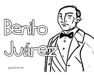 para colorear de Benito Juárez