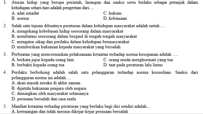 Kumpulan Soal Pkn Smp Kelas 7 Semester 1 Didno76 Com