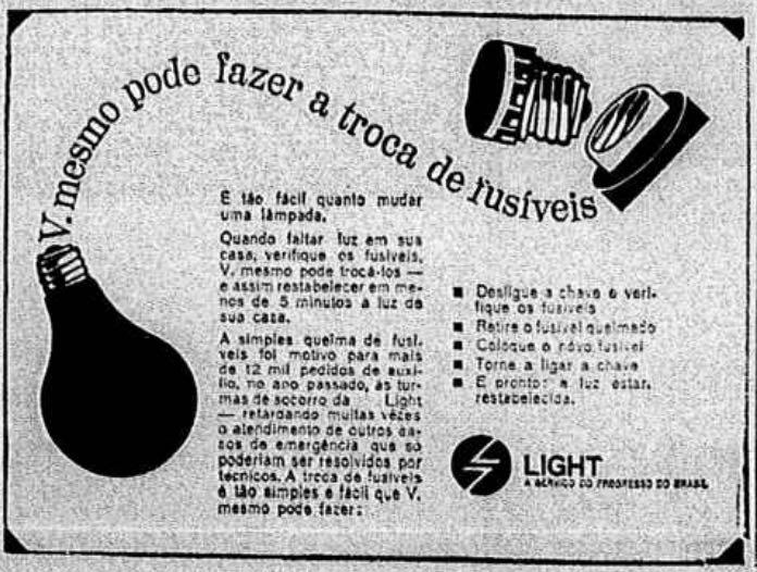Campanha da Light apresentada em 1967 ensinando a população a realizar troca de fusíveis