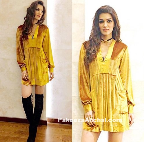 Kriti Sanon in Gold Velvet Dress & Steve Madden Boots