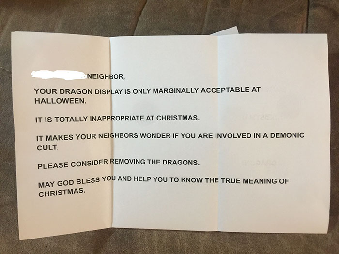 Neighbors Found This Woman's Christmas Dragon Decorations Inappropriate, So She 'Fixed' It